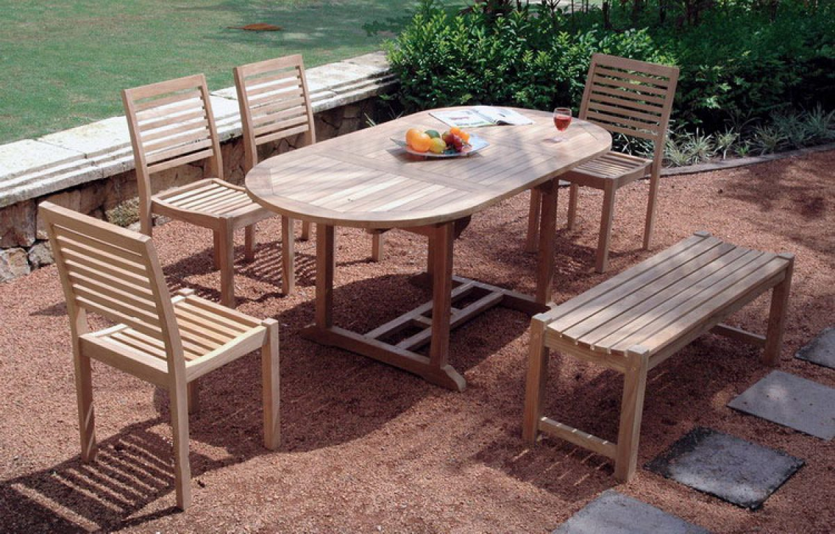 Cadiz with oval table&backless bench
