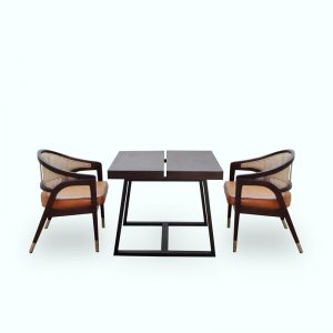 Ganis Dining Set Material Teak Wood Rattan Brass Leather Cushion Rustic Color